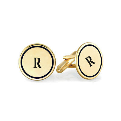 Custom Engraved Letter Initial Wedding Cufflinks in Yellow Gold Plated Silver