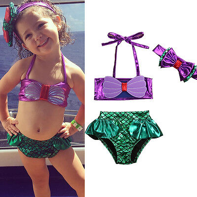 Kids Baby Girls Mermaid Swimsuit Swimwear Bathing Suit Tankini Bikini US Stock
