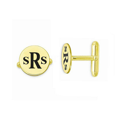 Custom Engraved Initials Circle Wedding Cufflinks in Yellow Gold Plated Silver