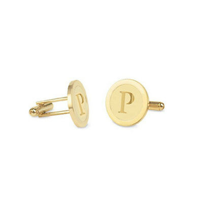 Custom Engraved Initial Circle Groom Cufflinks in Yellow Gold Plated Silver