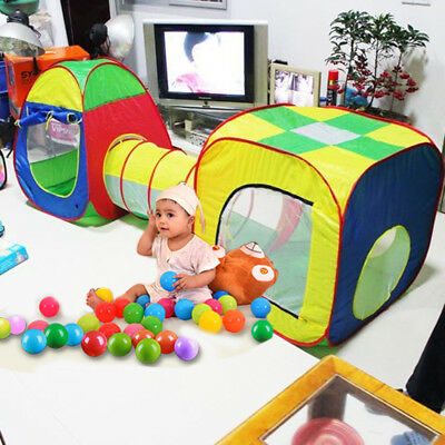 AU Portable Kid Pop Up Play Tent Tunnel Bady Toddler Cubby House Ball Pit Indoor