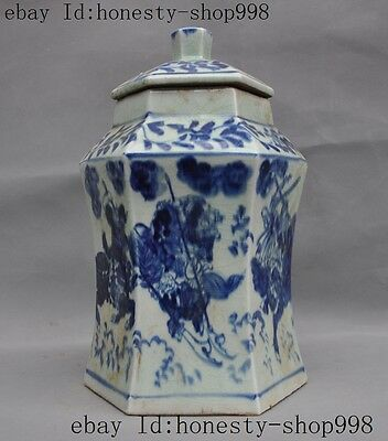 Collect Chinese Blue & white porcelain Glaze Generals Ride Horse pot jar crock