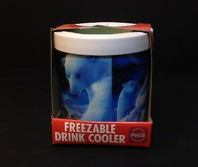 Coca-Cola The Fridge Coke Polar Bear Freezable Drink Cooler Freezer Koozies NEW!