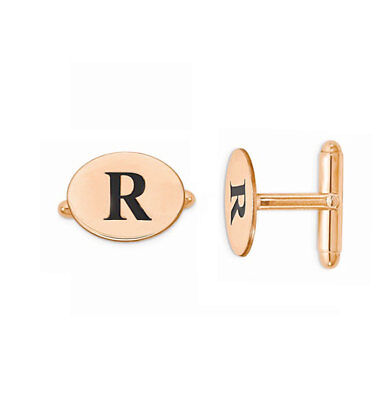 Custom Engraved Letter Initial Oval Groom Cufflinks in Rose Gold Plated Silver