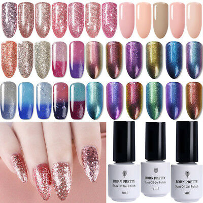 5ml Glitter Nail Art Soak Off Gel Polish UV Led Gel Varnish  Born Pretty
