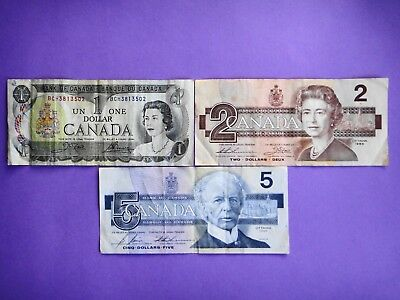 Canada- $1 $2 $5 Dollar  1970s - 1980s  Paper Banknotes Circulated Condition VF+