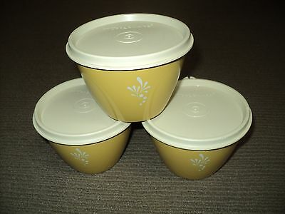 Bulk Lot X 3 Tupperware Harvest Gold Canister Containers With Lids - Used Good