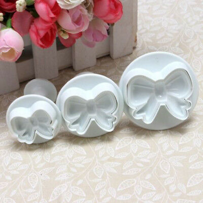 3PCS Bowknot Stampo Cake Fondant Icing Plunger Cutter TORTA SUGARCRAFT