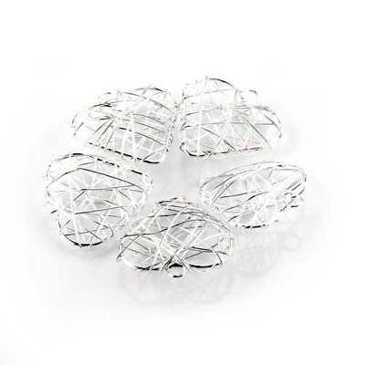 """5Pcs Heart Silver Plated Wire Wrapped Pendant 1.22"""" High Quality Trendy CHIC"""