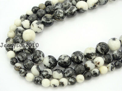 Natural Black And White Zebra Gemstone Faceted Round Beads 15'' 6mm 8mm 10mm
