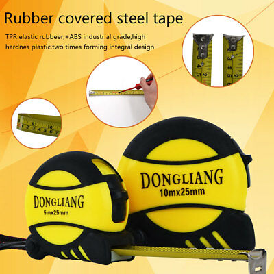 5m 10m Metric Rubber Covered Steel Tape Measures Retractable Measuring Tools