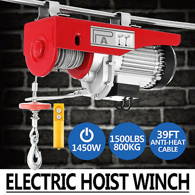 800KG Electric Hoist Winch 220V Cable Lift Tool Remote Chain Lifting Rope
