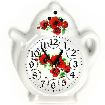 Wall Clock for the Kitchen - Ceramic - Country House Style with Poppies