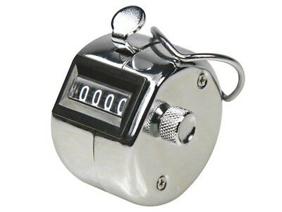 Tally Counter Stroke Count Hand Held 4 Digit Chrome Clicker Palm Golf Counting
