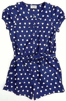 NWOT Next Girls Navy Blue Heart All In One Short Summer Jumpsuit Playsuit 5-6yrs