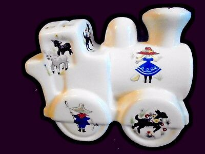 Vintage Brixham Pottery Childrens nursery rhymes train money box with stopper