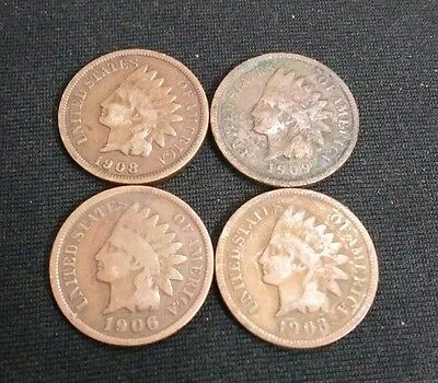 1903/1906/1908/ and 1909 American Indian Head 1 cent coins×4 Lot#5