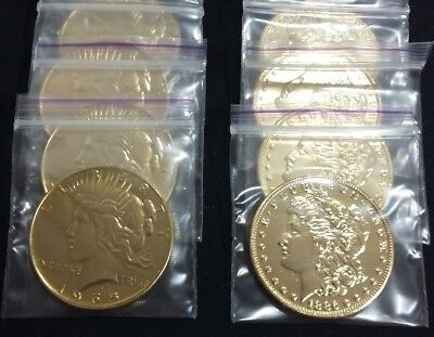 1OZ .999 FINE GOLD PLATED MORGAN and PEACE DOLLAR COINS