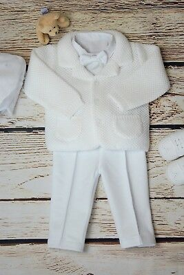 Baby Boy White Outfit Smart Set Soft Cardigan Wedding Suit Christening Baptism