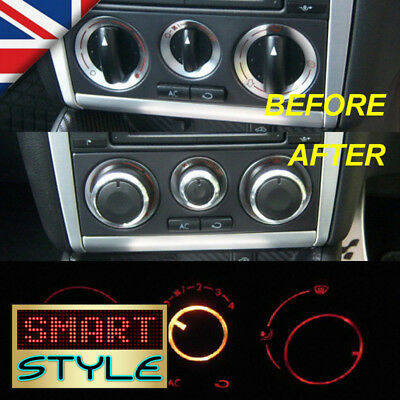SmartStyle Aluminium Heater Knobs Buttons Set-VW Golf MK4/Polo 6N2/Passat/Bora…