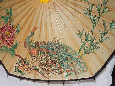 Vintage Rice Paper & Bamboo Umbrella Parasol Japan: Beautiful Peacock & Flowers