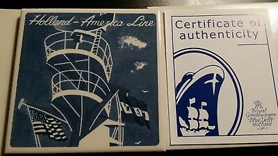 rare Holland America blue delft tile Goedewaagen coaster with COA