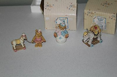 Cherished Teddies 3 Figurines Tonya Wally Elephant Circus