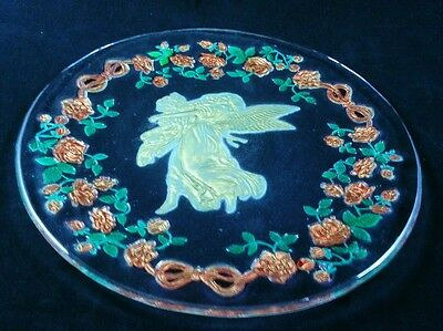 Goofus Glass Art Nouveau Platter Gold Gilt Angel W/ Child Bows And Red Roses