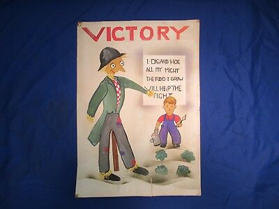 Vintage World War Ii Poster Hand Panted Unknown Artist Good Condition!!