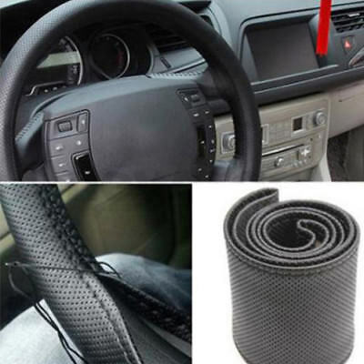 Faux Leather Car Auto Steering Wheel Cover Protector with Needle Thread Kit Well