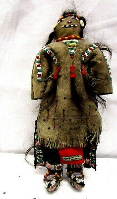 "1920s Sioux Doll Large 11"" Fancy Beads, Burial Moccasins, Long Real Hair, Sperm,"