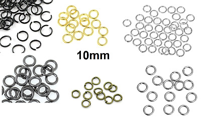 10mm Open Jump Rings - 8 Options Available! Single Loop - 100 pcs - High Quality