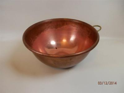 Vintage Heavy Gauge Copper Mixing Bowl Chocolate Whip Cream Candy  10 inch #2