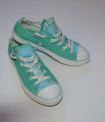 ff21e7706cd8 Converse Girls All Star Low Top Canvas Sneakers Shoes 4 *Seafoam Green Teal