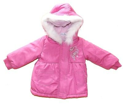 Pink Winter Jacket with hood 3 6 9 12 months girls coat water resistant & warm