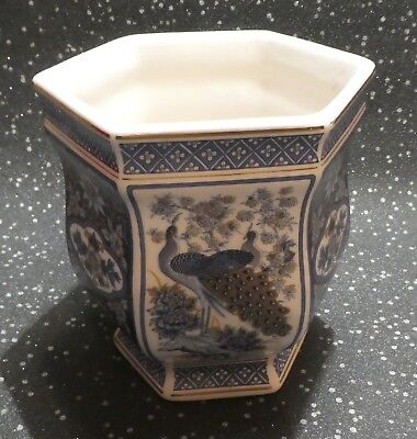 Oriental Plant Pot Holder 6 Sided Vase By Panda Blue Gold Peacock Floral Pattern