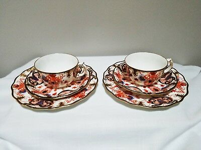 REDUCED 2 Antique Royal Crown Derby Imari Trios -Teacup, Saucer and Sm Plate