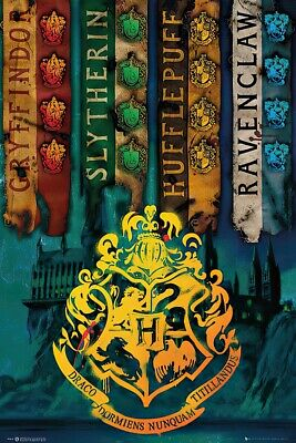 """HARRY POTTER - MOVIE POSTER / PRINT (HOUSE FLAGS) (SIZE: 24"""" x 36"""")"""