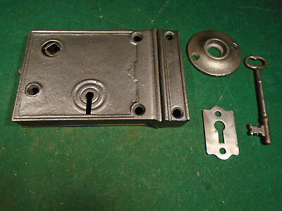 VINTAGE RIM LOCK w/KEY & KEEPER: CLEANED RECONDITIONED BEAUTIFUL (9898-6)