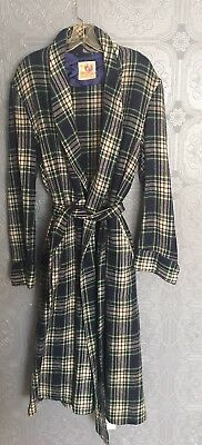 RABHOR Vintage Blue Tartan Plaid 100% Virgin Wool Robe Mens Sz M