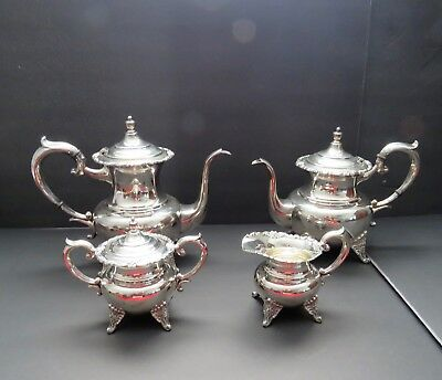 Sterling-Silver-Vintage-Tea-and-Coffee-Set-4-pc- ROSES -950 Sterling 72 ozt.