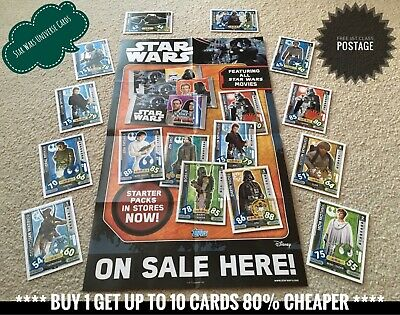 Topps Star Wars Force Attax Universe Cards - Numbers 1-272, Buy 2 Get 10 Free