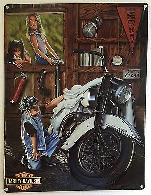 Ande Rooney HARLEY DAVIDSON CURIOUS KIDS Tin HD Motorcycle Garage Man Cave Sign