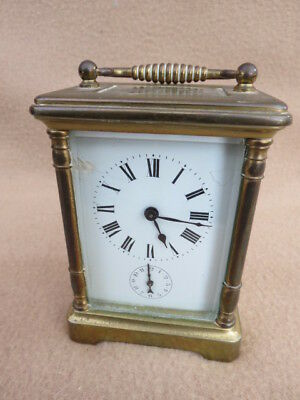 Antique French 8 Day Brass Alarm Carriage Clock For Spares Repair