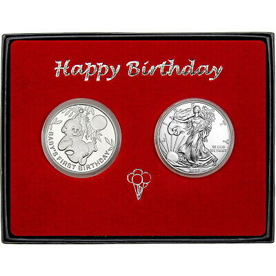 Baby's First Birthday Birthday Silver Round and Silver American Eagle 2pc Set