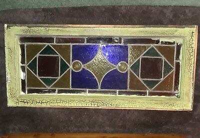 Antique Stained Glass Window Transom Slag Art Deco 16 x 35 Victorian Wow (Fix)