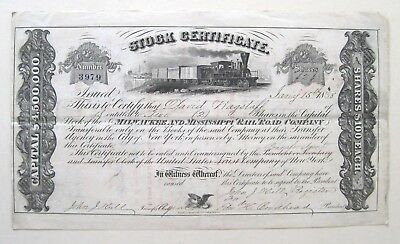 Milwaukee & Mississippi Railroad Stock Certificate 1858