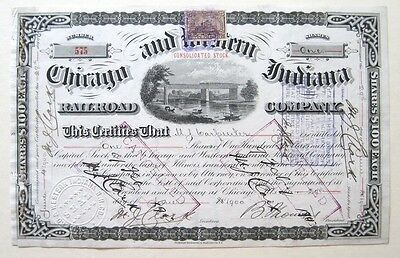 Chicago & Western Indiana RR Stock Cert 1900