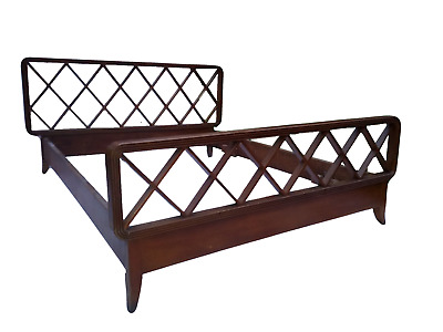 E X T R E M E L Y  R A R E  1930s Italian Wooden Paolo Buffa Bed Double Size