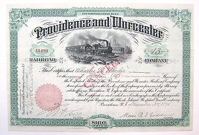 Providence & Worcester Railroad Stock Certificate 1896